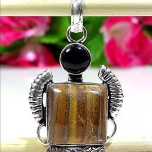 Fine Iron Tiger Stone Gem Sterling Silver Necklace